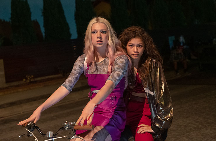 Hunter Schafer as Jules and Zendaya as Rue on a bike in HBO's Euphoria