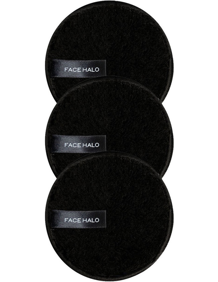 Three black, circular pieces of fabric labelled Face Halo.