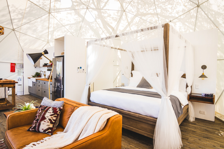 the interior of a geodesic dome tent