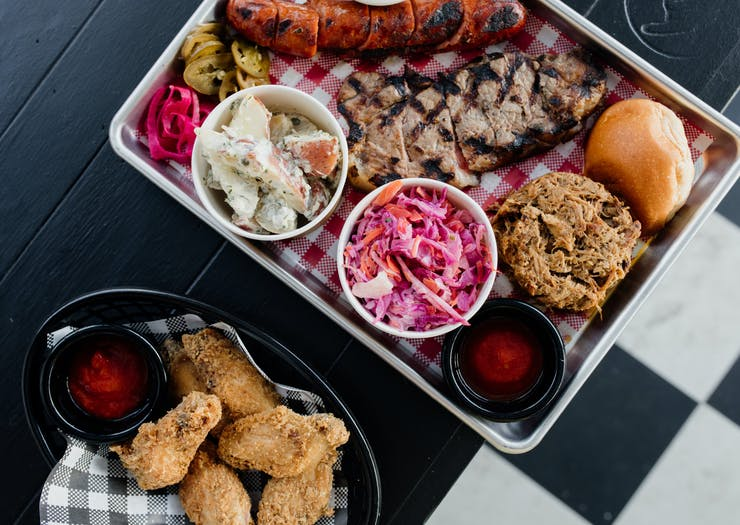 a tray of bbq