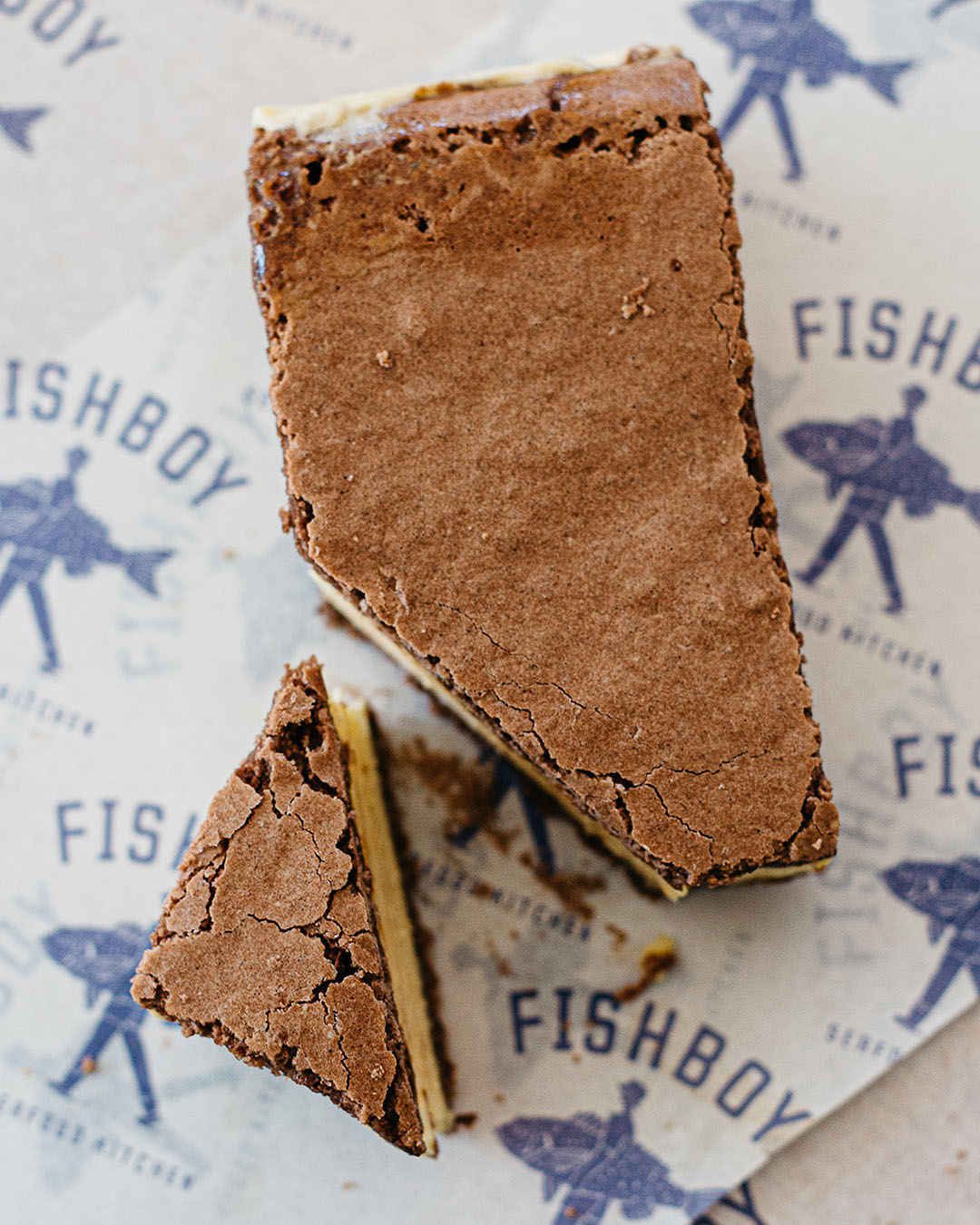 The ice cream sandwich at Fishboy sits on a plate looking delicious.
