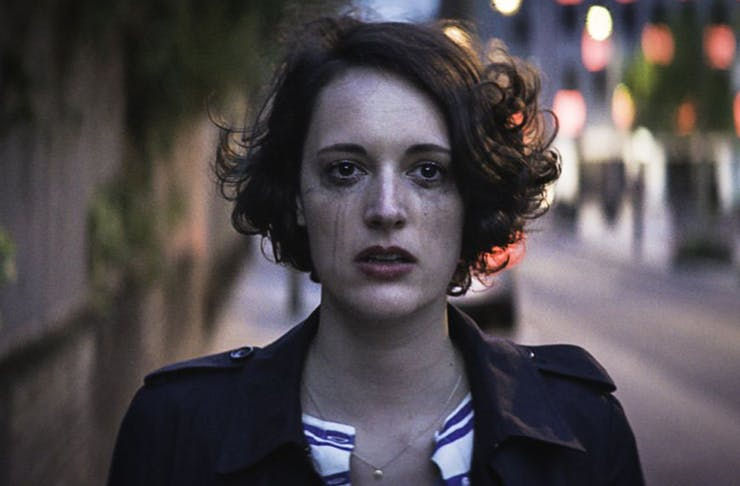 Phoebe Waller-Bridge has messy hair and is crying as the star of Fleabag. A mess, personified