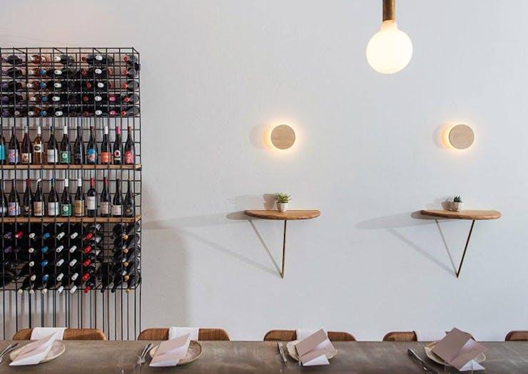 The minimalist interior of Fleet Restaurant in Brunswick Heads.