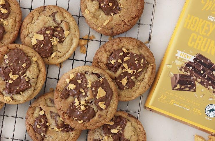 Freshly baked whittaker's hokey pokey biscuits