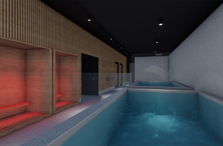 A render of a wellness room with a pool and saunas.