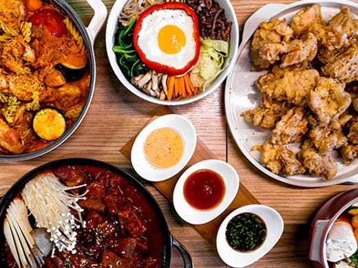 A flat lay of Korean dishes.
