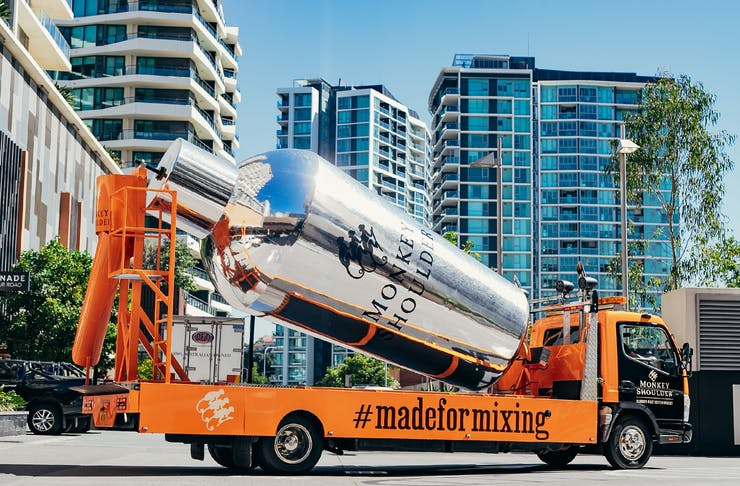 An image of a cement mixer truck transformed into the Monkey Shoulder Shaker