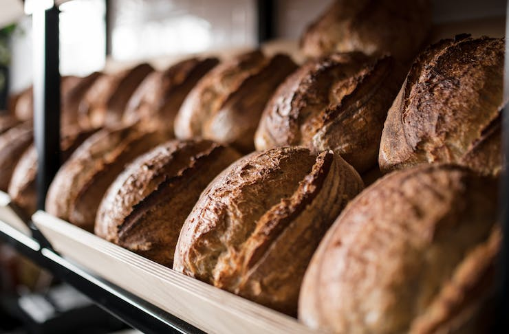 Rows of fresh baked sourdough bread from General Public Inglewood