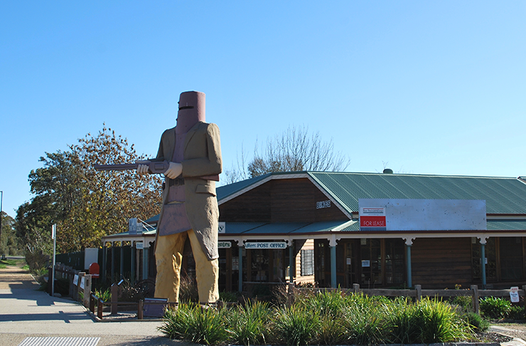 A large statue of Ned Kelly in Glenrowan.