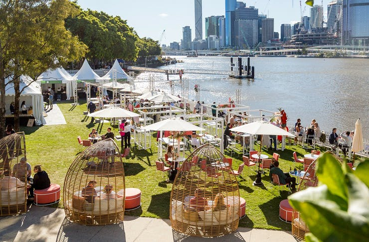 An overhead shot showing some stalls at the Global Fiesta At Southbank, Brisbane