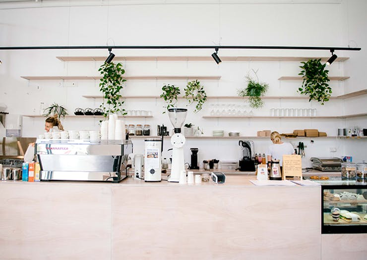 A minimalist coffee-making space in a Gold Coast cafe.
