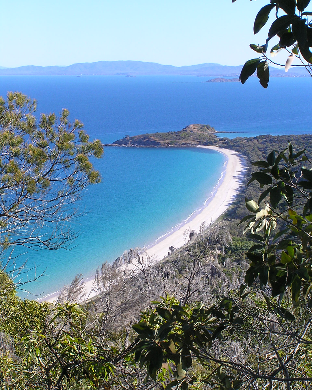 Stunning view from above of Great Keppel Island featuring blue ocean, white sand and lush green forrest.