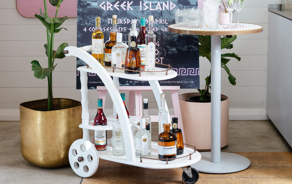 Ouzo Chariot at Island Market
