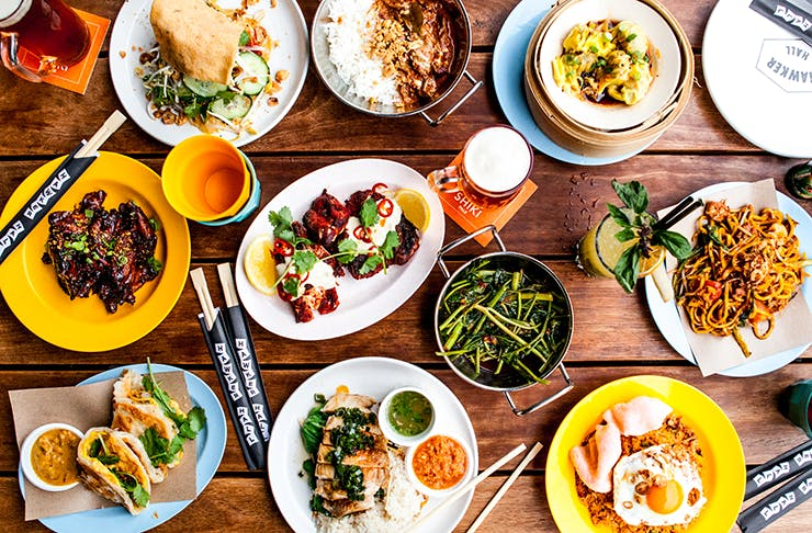 A colourful spread of Asian-fusion dishes from Melbourne's Hawker Hall.
