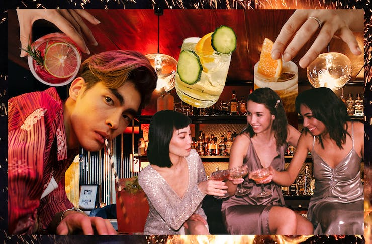 A collage of people enjoying whiskey cocktails