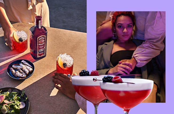A collage of cocktails featuring the Bombay Bramble and a woman in neon hues.