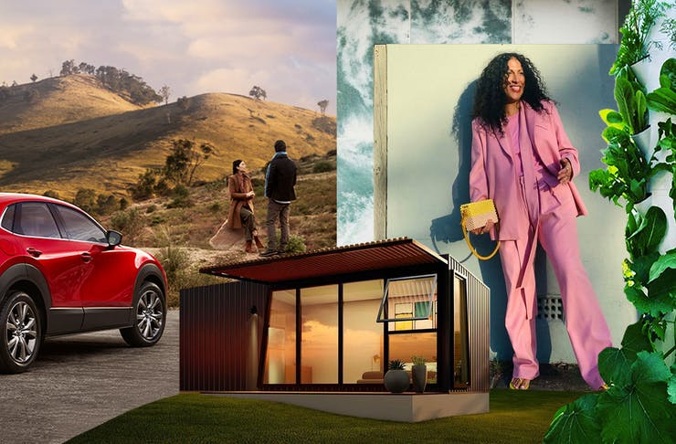 A collage showcasing sustainable investments including a Mazda CX 30 Car, Air Garden, ModnPod and a Maggie Marilynn fashion look.