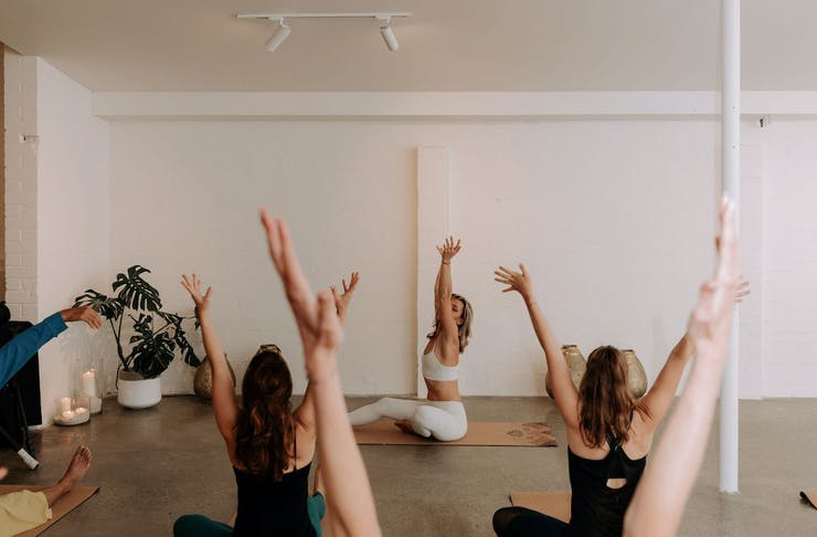 People in a yoga class at Horizon Yoga Cottesloe