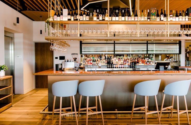 the bar at palette restaurant at HOTA