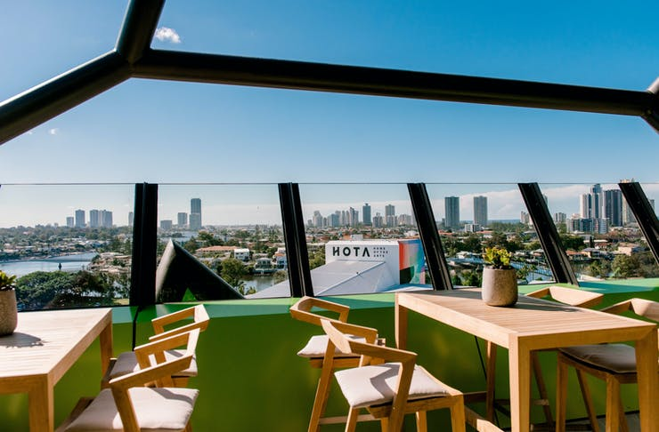 the views from HOTA's stunning new rooftop bar
