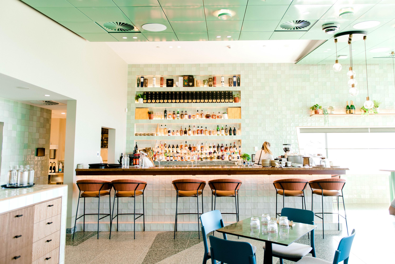 the green interior of a bar