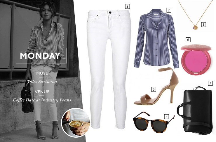 51a138a627c Victoria Beckham Denim Ankle Slim Mid-Rise Skinny Jeans in White from  camargue 2. Equipment Adalyn Shirt in Crown Blue Multi from mode sportif