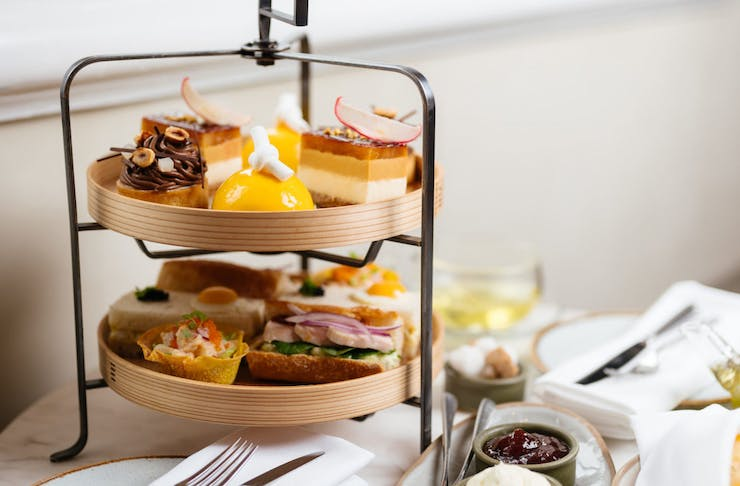 High tea on tiered platter, delivered by State Buildings Perth