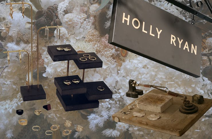 A collage of Holly Ryan jewellery.