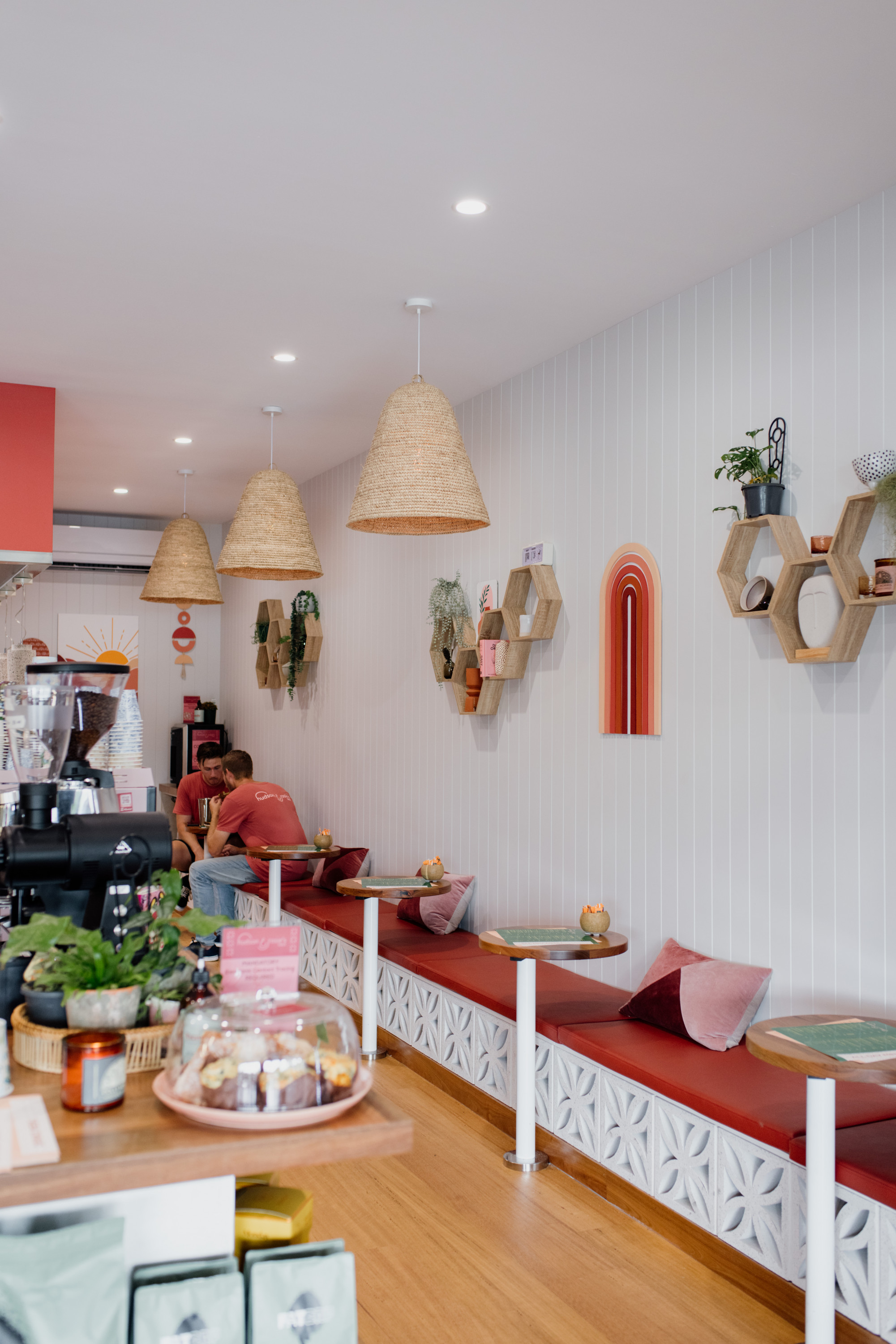 the quirky, colourful interior of a cafe