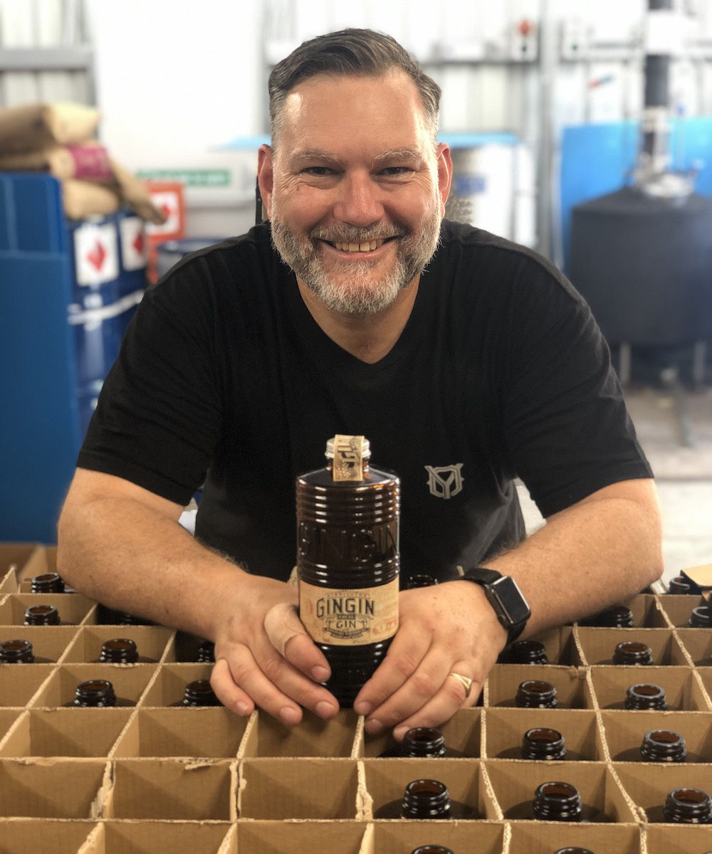 Distiller James Young with bottle of Gingin Gin