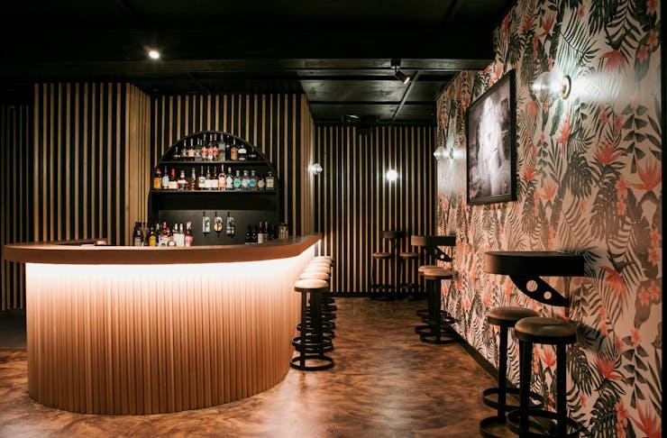 A dimly lit bar in Noosa.