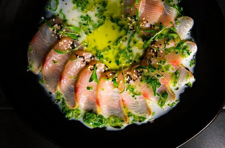 top down view of kingfish sashimi