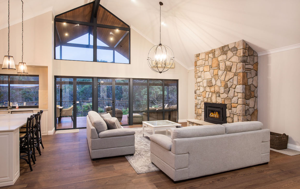 The Hamptons-style living area at the Killara residence
