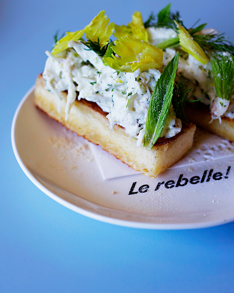 Crab toast at Le Rebelle