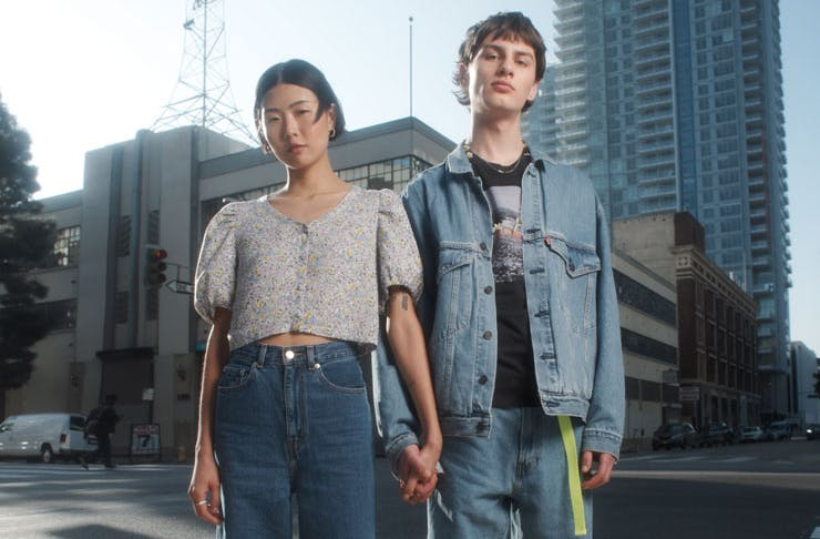 A couple wearing Levi's new Cottonised Hemp denim.
