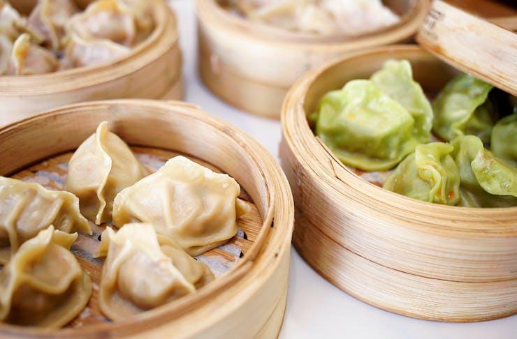 Selection of steamed dumplings