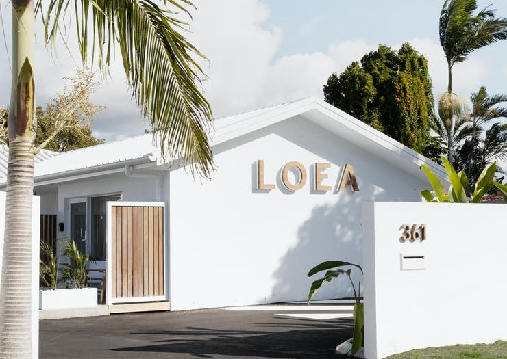 White exterior of LOEA Hotel on the Sunshine Coast
