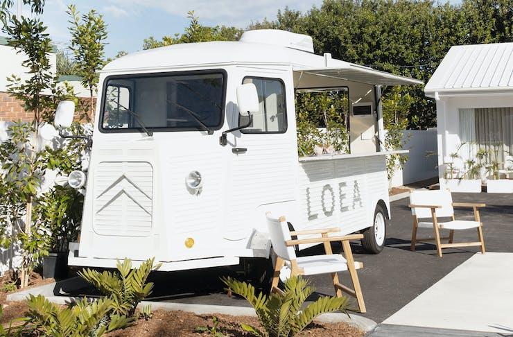 LOEA Hotel's citron-style, check-in truck.