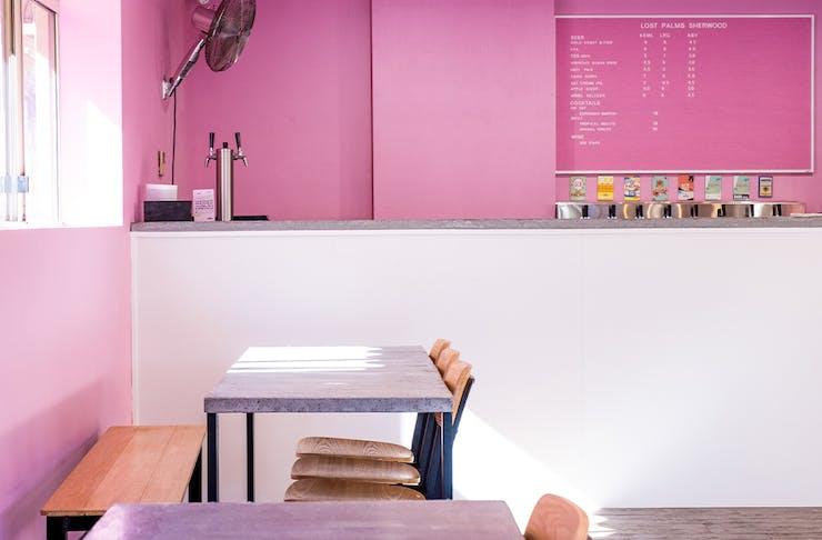 pink interior at lost palms