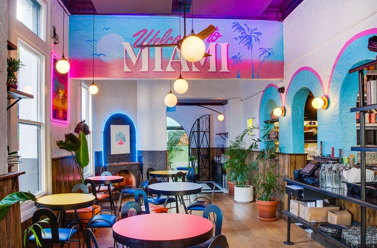 Bright interior of Neon Palms, one of Perth's best restaurants and bars reopening tonight