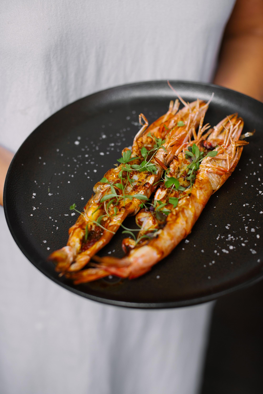 a plate of prawns