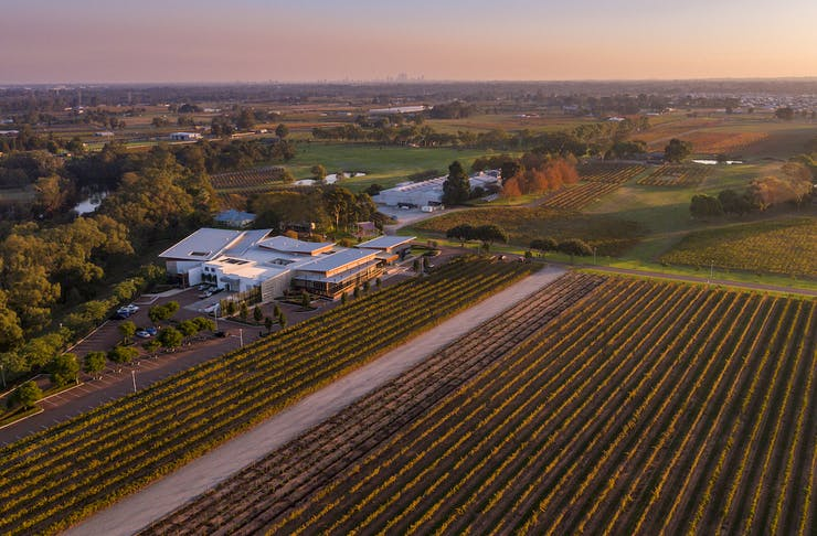 Drone shot of Mandoon Estate in the Swan Valley