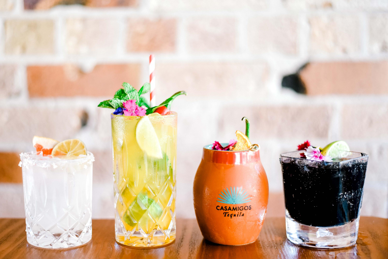 a line-up of cocktails