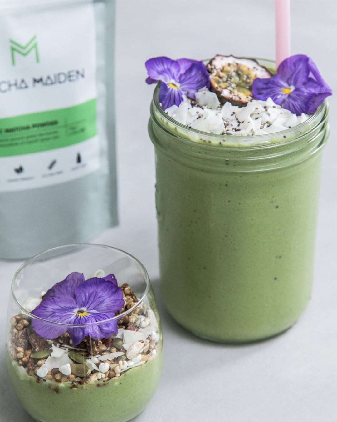 Matcha Maiden pouch with two matcha smoothies