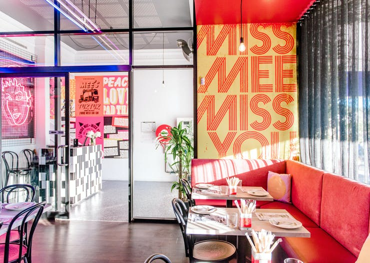 The pink-hued interior of Gold Coast restaurant, Miss Mee.