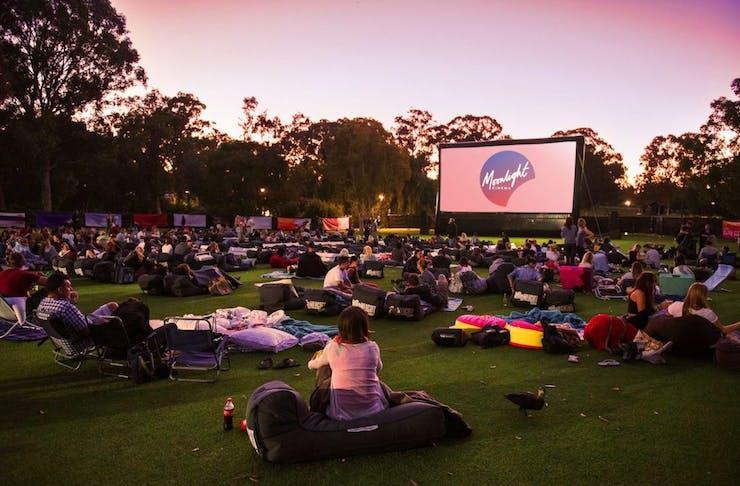 Moonlight Cinemas in Kings Park at sunset