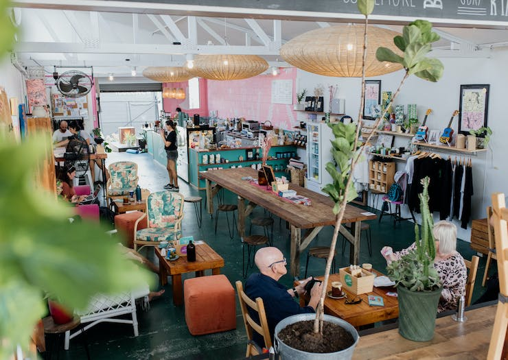 the quirky interior of a cafe