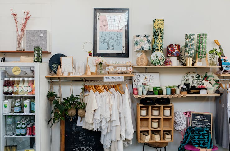 homewares and a clothing rack