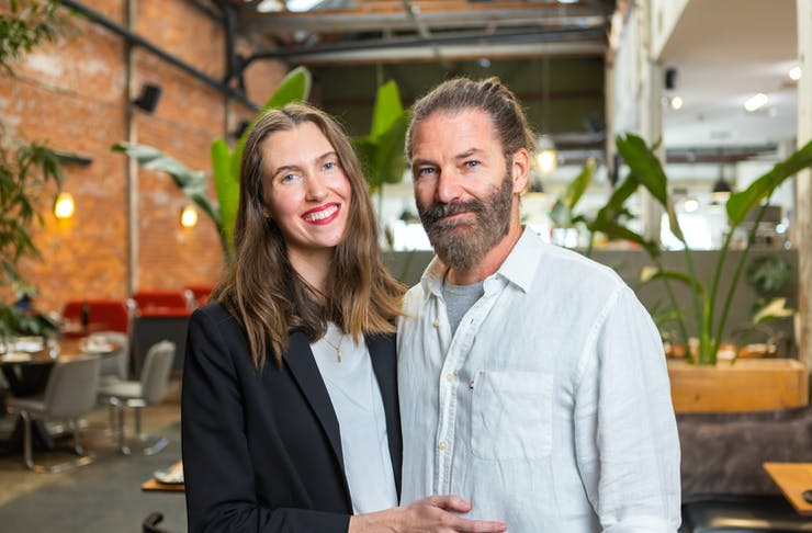 Emma and Heath Daly stand in their plant-based restaurant, Mother Fremantle.