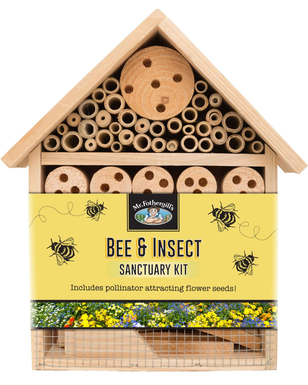 A cute, cottage-like bee and insect house